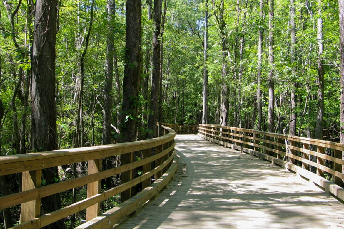 A walking trail bridge from hole sixteen to seventeen on Carolina Colours golf course in New Bern NC