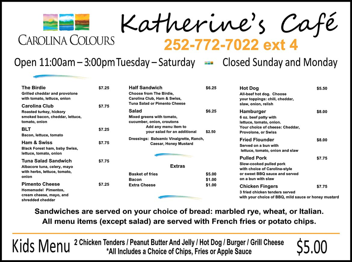 Katherine's Cafe dining menu board at Carolina Colours private residential community